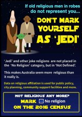 "Atheist Foundation of Australia campaign against identifying as ""Jedi"" in this year's census."
