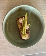 Comte and silverbeet croquette with fermented asparagus.