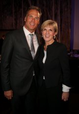 Foreign Affairs Minister Julie Bishop and her partner David Panton  in Canberra on Wednesday.