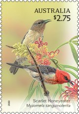 The Scarlet Honeyeater appeared on stamps in 2009