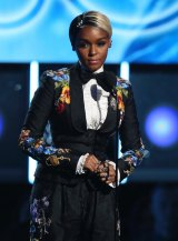 Janelle Monae introduces Kesha at the Grammys.