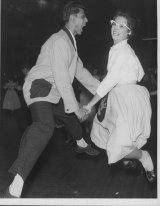 Rock 'N' Rollers Diane Green, of Dutton Park, and Rafino Peoples, of Chermside, warming up in their vigorous bid for the State title at Cloudland ballroom in 1957.
