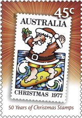 The controversial Surfing Santa stamp of 1977, re-released in 2007 by Australia Post.