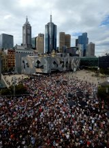 The crowd for the Bourke Street Vigil at Federation Square.