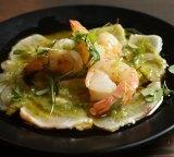 The green prawns and cured kingfish at Magic Mountain Saloon.
