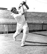 Richie Benaud pictured in the nets in 1952.