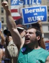 A supporter of Senator Bernie Sanders in Philadelphia.