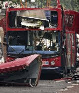 A London bus after the terror attack in July 2005.