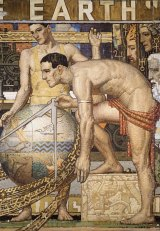 Detail from the 1933 mosaic <I>I'll put a girdle round about the Earth</I>.                      From: Kitty Walker  [mailto:Kitty.Walker@ngv.vic.gov.au]  Sent: Tuesday, 20 May 2008 4:18  PM To: Jeffrey GLORFELD Subject: 2nd Waller  Mosaic      caption:       Napier Waller  Australia 1893???1972  ???I???ll put a girdle round the earth???  Cartoon for Newspaper House mosaic 1933  National Gallery of  Australia, Canberra  &copy; Courtesy of the artist  estate