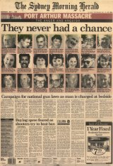 <i>The Sydney Morning Herald's</i> front page for May 1, 1996. At Port Arthur, Martin Bryant had killed more than 30 people and continued to fire at police but snipers were not authorised to take him out.