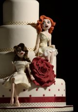 A same-sex wedding cake at the Gay Wedding Show in Leeds, England.