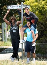 Nic Naitanui, Chris Yarran and Michael Walters back in Bushby Street in 2008.