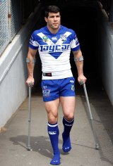 Injured Bulldogs captain Michael Ennis.