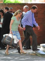 Victim Kim Hunt's sister Jenny Geppert and her husband at Wagga Courthouse for the last day of the inquest.