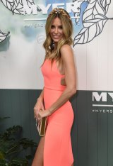 Jennifer Hawkins at the Myer spring racing launch in Melbourne on Friday.