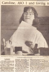 A scan of the front page story on Caroline Brunner in 1992.