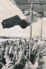 Pop star Johnny Farnham performing in 1973.