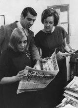 Don Riseborough with journalist Lillian Roxon and library editor Margaret Jones.