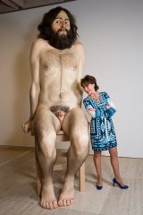 Here's looking at you: Kathy Lette with Ron Mueck's sculpture <i>Wild Man</i>.