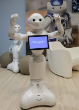Pepper the robot, developed by Softbank Robotics, which hopes social robots will soon be a common sight in households.
