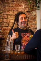 Author/musician Bram Presser dining at Blencowes Milk Bar, Balaclava.