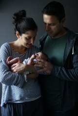 Libby Nathan and husband Jeremy with their day-old baby son.