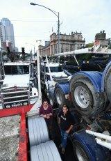 Protesting truckies Craig Mayman and Rick Land.