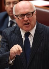 Attorney-General Senator George Brandis defends himself against the censure motion.