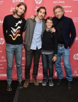 "Programmer Charlie Reff, director Ariel Kleiman and actors Jeremy Chabriel and Vincent Cassel at the ""Partisan"" premiere in Sundance."