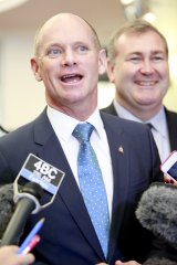 Queensland Premier Campbell Newman gives a press conference on the final day of the G20 summit.