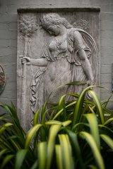 Caroline Davies' small courtyard has a Mediterranean feel.