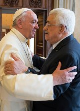 Pope Francis with the president of the Palestinian authority Mahmoud Abbas at the Vatican on Saturday.
