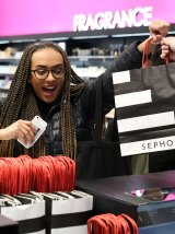 Vera Cheffers, 20, the first in the world to buy Fenty Beauty at Sephora Chadstone, Melbourne. From Amy Croffey.