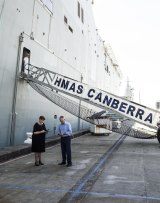 Prime Minister Malcolm Turnbull and Defence Minister Marise Payne at a press conference alongside HMAS Canberra in March.