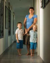 Egg donor Natalie Parker with her sons Hugo, right, age 3, and Angus, age 5.