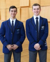 Knox Grammar School decathlon winners Kiano Ramcharan (left) and Peter Koch.