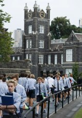 Students outside Melbourne Grammar School.