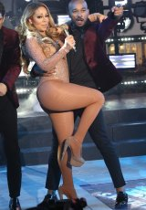 Mariah Carey at the New Year's Eve celebration in Times Square.