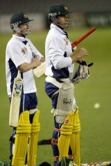 Not so close these days: Michael Clarke and Matthew Hayden.