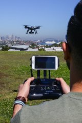 Flying a drone at a park in Dover Heights in Sydney.
