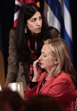 Hillary Clinton with her trusted confidante Huma Abedin in 2011.