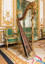 Jean-Henri Nadermann, Marie-Antoinette's harp, 1775, gilded and painted wood, metal, bronze, pearl and glass beads. On loan from the Palace of Versailles.