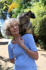 Margit Cianelli and her tree tangaroo Kimberley at Lumholtz Lodge