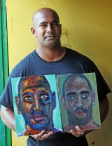 Myuran Sukumaran with two self portraits.