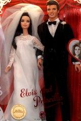 Elvis and Priscilla Barbie dolls are displayed for sale at Graceland.