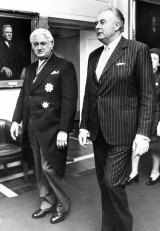 John Kerr and Prime Minister Gough Whitlam in the King's Hall, Parliament House, Canberra on July 11, 1974.