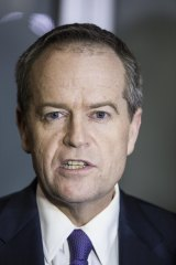 Bill Shorten speaks to the media after he appeared at the Royal Commission into Trade Unions