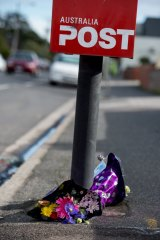 Flowers left for cyclist Peter McDuffie in Barkly St, West Footscray.