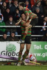 Joel Reddy celebrates as he scores Souths' seventh try.