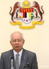 Malaysian Prime Minister Najib Razak at a press conference on Tuesday.